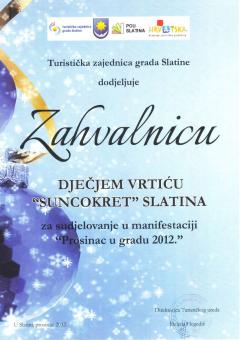 TZ grada Slatine, zahvalnica za sudjelovanje u manifestaciji