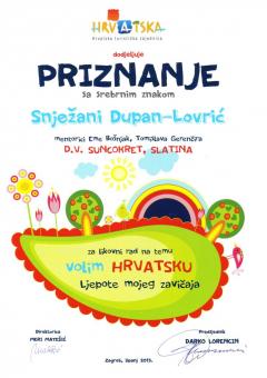 HTZ, priznanje sa srebrnim znakom, za likovni rad, 2013. godina