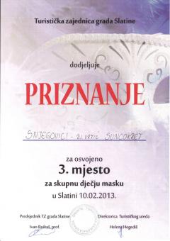 TZ grada Slatine, priznanje za osvojeno 3. mjesto za skupnu dječju masku, 2013. godina