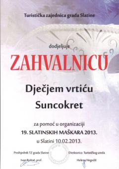 TZ grada Slatine, zahvalnica za pomoć u organizaciji 19. slatinskih maškara, 2013. godina