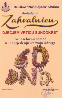 DND Slatina, zahvalnica za nesebičnu pomoć u unaprjeđenju i razvoju Udruge, 2013. godina